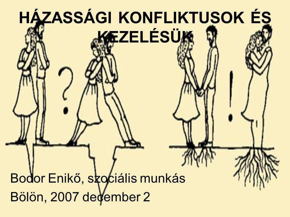 HÁZASSÁGI KONFLIKTUSOK ÉS KEZELÉSÜK Bodor Enikő, szociális munkás Bölön, 2007 december 2