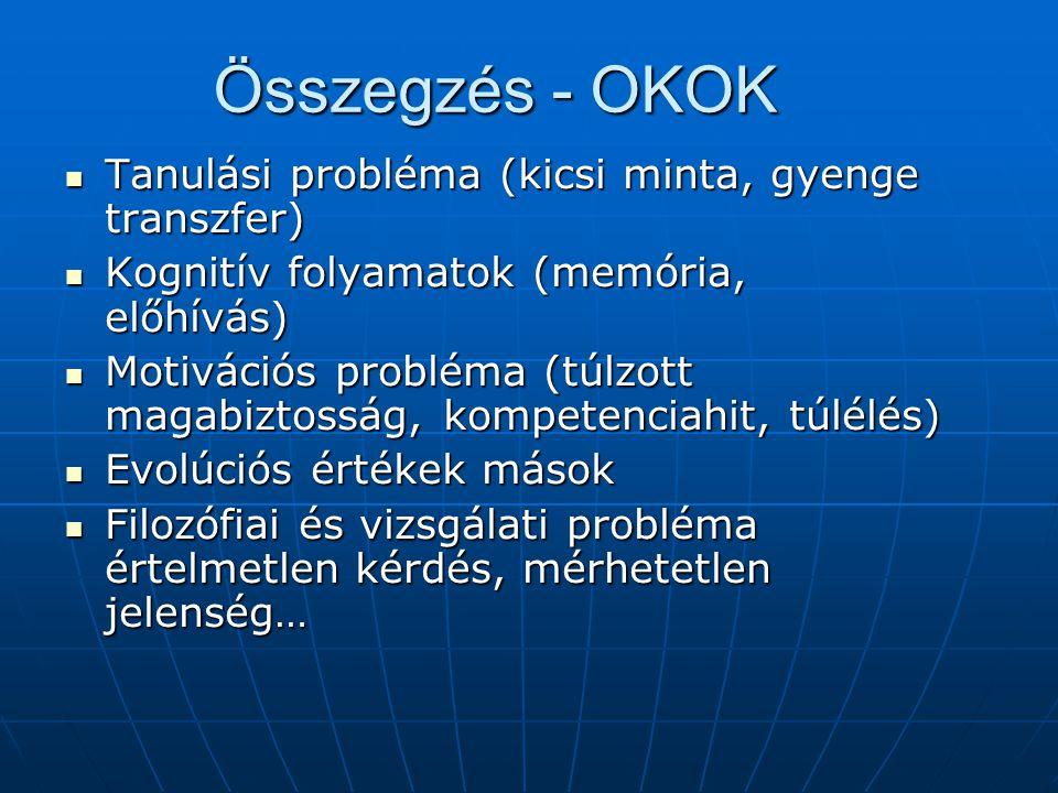 Összegzés - OKOK Tanulási probléma (kicsi minta, gyenge transzfer) Tanulási probléma (kicsi minta, gyenge transzfer) Kognitív folyamatok (memória, elő