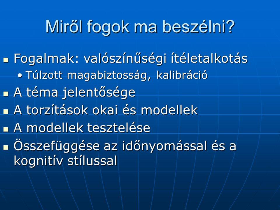Hazai vizsgálatok Faragó, Móra 2002-2004 Faragó, Móra 2002-2004 Középiskolások, főiskolások, vállalkozók és elítéltekKözépiskolások, főiskolások, vállalkozók és elítéltek Móra (PhD) 2005-2008: Móra (PhD) 2005-2008: a modellek tesztelése, időnyomás és kognitív stílusa modellek tesztelése, időnyomás és kognitív stílus Kappel Katalin (szakdolgozóm) 2009 Kappel Katalin (szakdolgozóm) 2009 Válaszgenerálás, időnyomás, kogn.