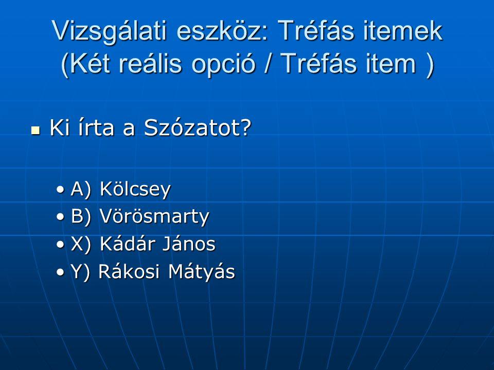 Vizsgálati eszköz: Tréfás itemek (Két reális opció / Tréfás item ) Ki írta a Szózatot? Ki írta a Szózatot? A) KölcseyA) Kölcsey B) VörösmartyB) Vörösm