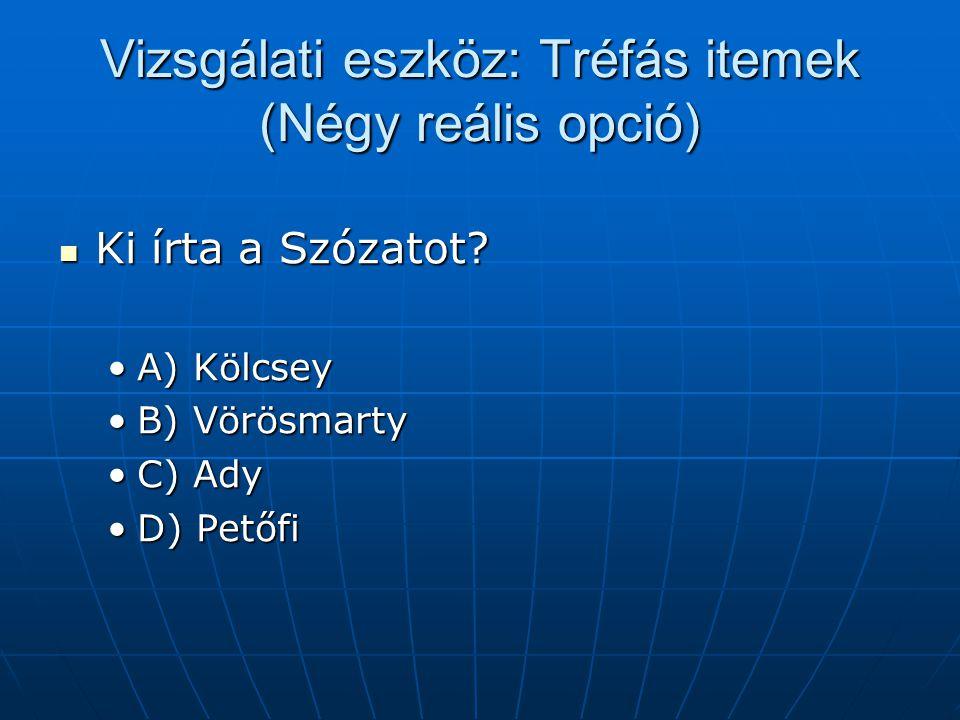 Vizsgálati eszköz: Tréfás itemek (Négy reális opció) Ki írta a Szózatot? Ki írta a Szózatot? A) KölcseyA) Kölcsey B) VörösmartyB) Vörösmarty C) AdyC)