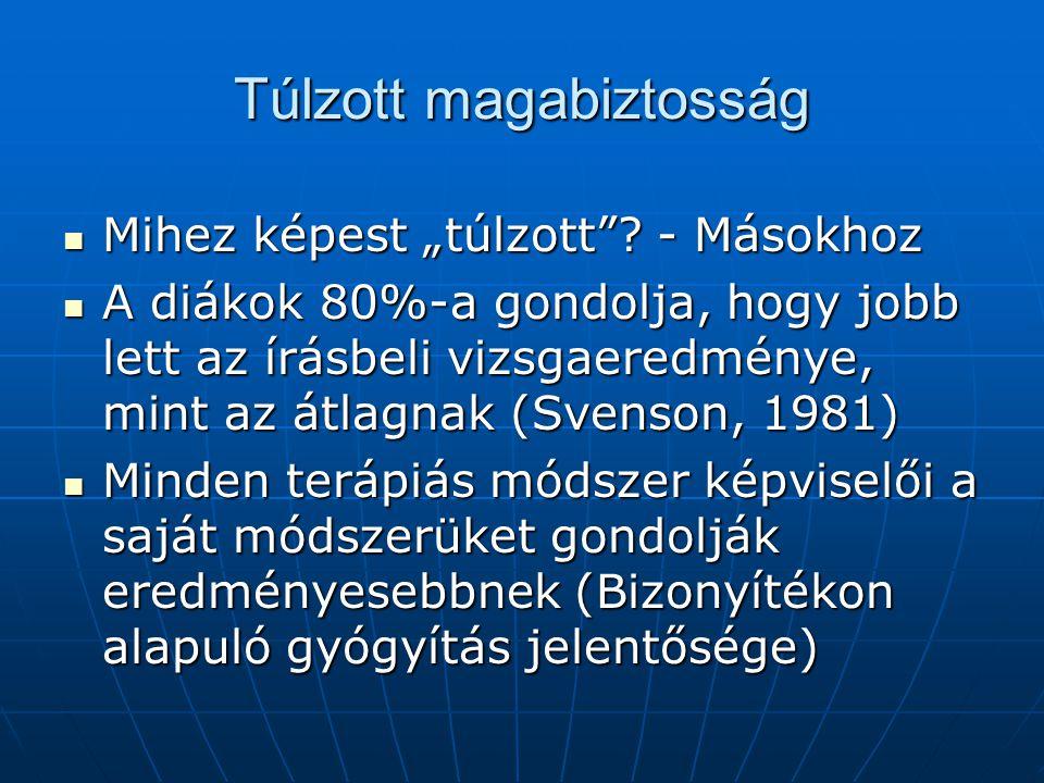 Modellek Normatív (bayesiánus) modell (alapgyakoriság) Normatív (bayesiánus) modell (alapgyakoriság) Az optimista felülkalibráltság elmélete (1975) (Kompetencia, önbecsülés) Az optimista felülkalibráltság elmélete (1975) (Kompetencia, önbecsülés) Ökológiai modell (Gigerenzer, 1991) Ökológiai modell (Gigerenzer, 1991) Alátámasztás elmélet (Tversky, 1992) Alátámasztás elmélet (Tversky, 1992) Random alátámasztás elm.