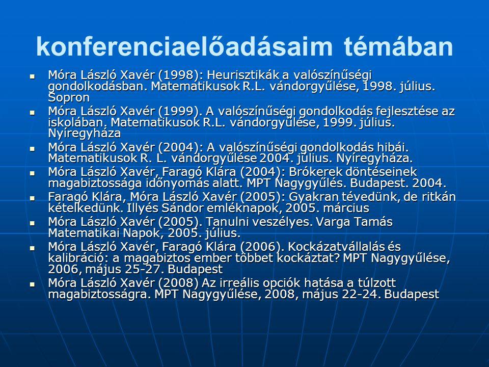 konferenciaelőadásaim témában Móra László Xavér (1998): Heurisztikák a valószínűségi gondolkodásban. Matematikusok R.L. vándorgyűlése, 1998. július. S