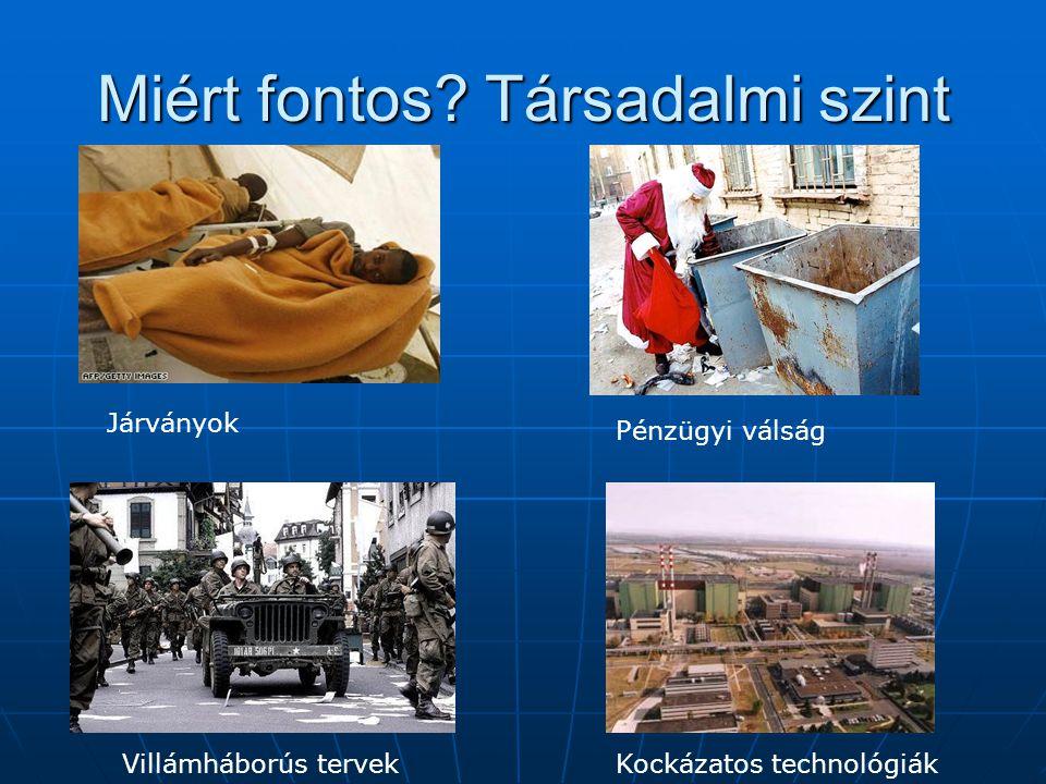 Miért fontos? Társadalmi szint Járványok Pénzügyi válság Villámháborús tervekKockázatos technológiák