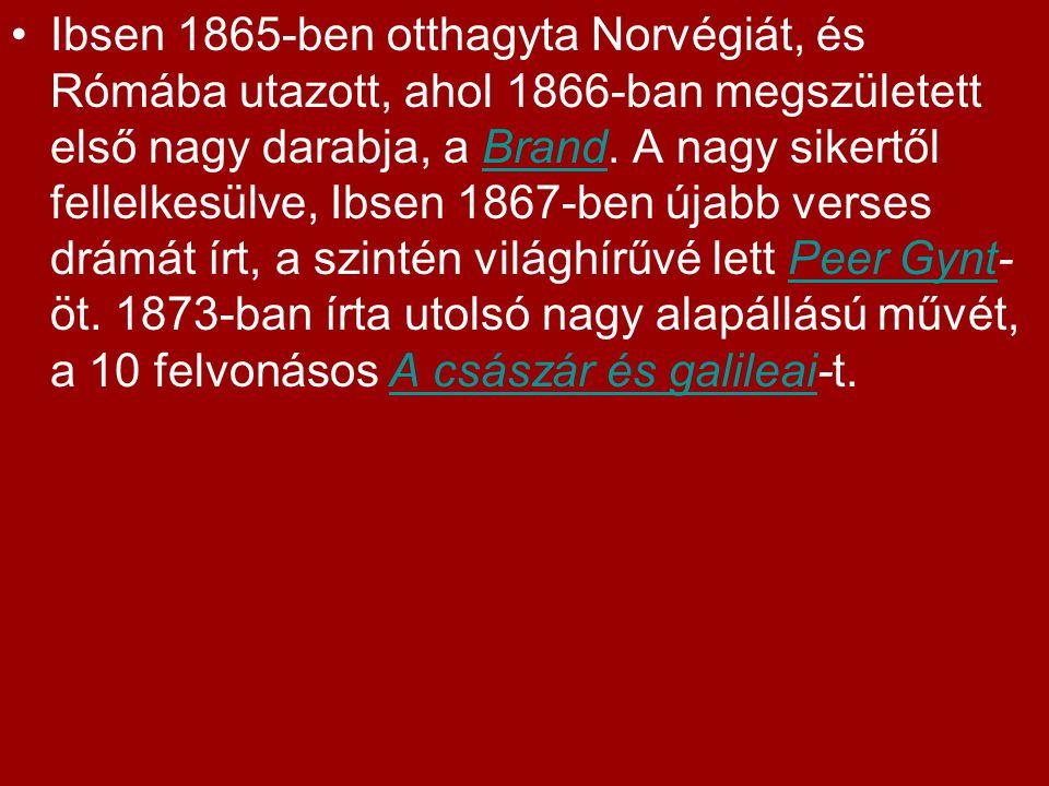 Ibsen 1865-ben otthagyta Norvégiát, és Rómába utazott, ahol 1866-ban megszületett első nagy darabja, a Brand.