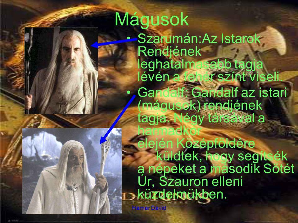 Hamar Dávid Mágusok Szarumán:Az Istarok Rendjének leghatalmasabb tagja lévén a fehér színt viseli. Gandalf: Gandalf az istari (mágusok) rendjének tagj