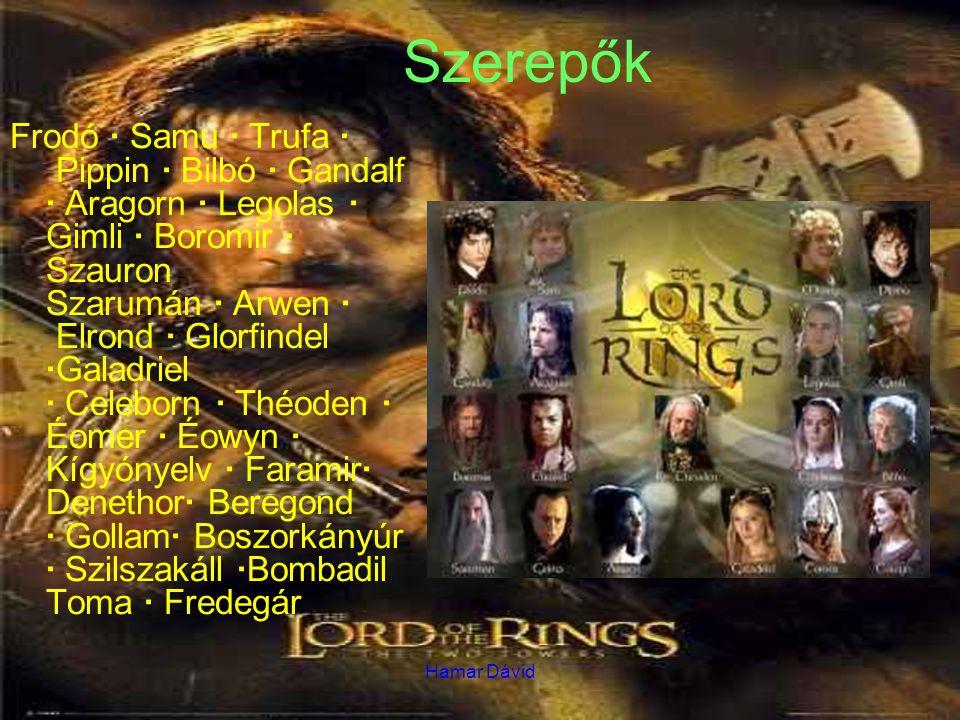 Hamar Dávid Szerepők Frodó · Samu · Trufa · Pippin · Bilbó · Gandalf · Aragorn · Legolas · Gimli · Boromir · Szauron Szarumán · Arwen · Elrond · Glorfindel ·Galadriel · Celeborn · Théoden · Éomer · Éowyn · Kígyónyelv · Faramir· Denethor· Beregond · Gollam· Boszorkányúr · Szilszakáll ·Bombadil Toma · Fredegár