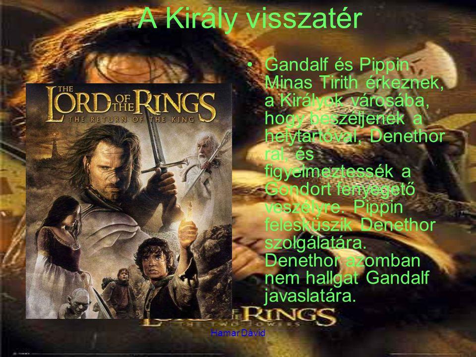 Hamar Dávid A Király visszatér Gandalf és Pippin Minas Tirith érkeznek, a Királyok városába, hogy beszéljenek a helytartóval, Denethor ral, és figyelmeztessék a Gondort fenyegető veszélyre.