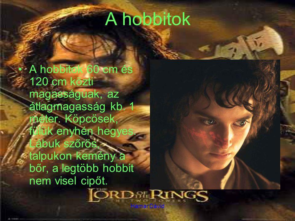Hamar Dávid A hobbitok A hobbitok 60 cm és 120 cm közti magasságúak, az átlagmagasság kb. 1 méter. Köpcösek, fülük enyhén hegyes. Lábuk szőrös, talpuk