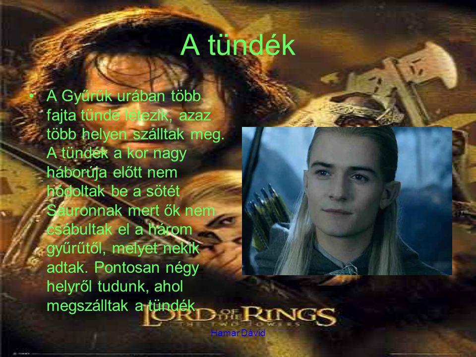 Hamar Dávid A tündék A Gyűrűk urában több fajta tünde létezik, azaz több helyen szálltak meg. A tündék a kor nagy háborúja előtt nem hódoltak be a söt