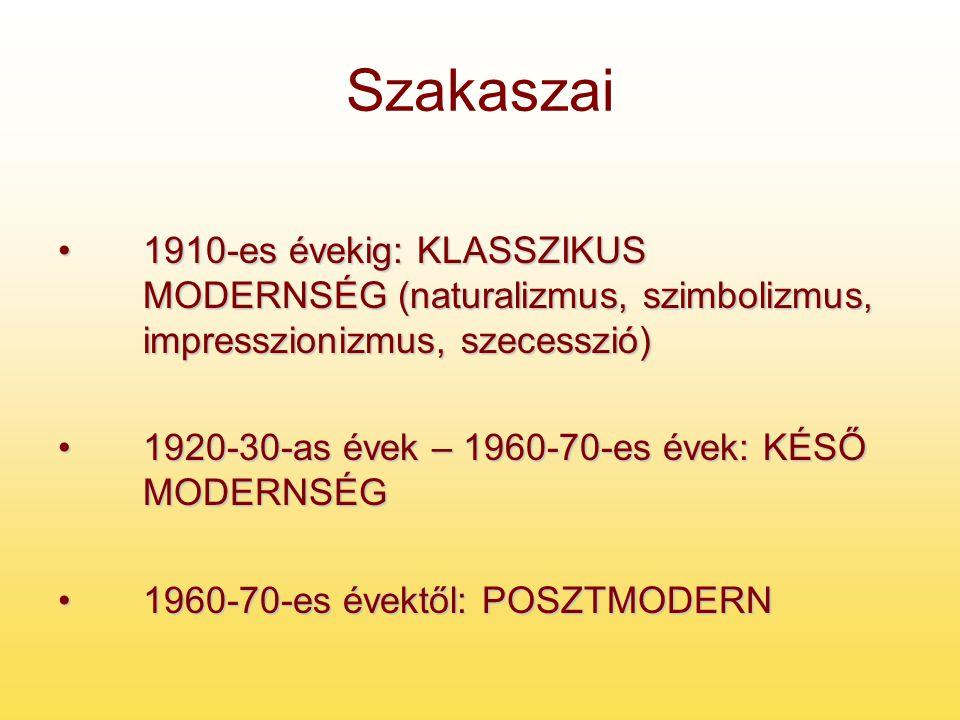 Szakaszai 1910-es évekig: KLASSZIKUS MODERNSÉG (naturalizmus, szimbolizmus, impresszionizmus, szecesszió)1910-es évekig: KLASSZIKUS MODERNSÉG (naturalizmus, szimbolizmus, impresszionizmus, szecesszió) 1920-30-as évek – 1960-70-es évek: KÉSŐ MODERNSÉG1920-30-as évek – 1960-70-es évek: KÉSŐ MODERNSÉG 1960-70-es évektől: POSZTMODERN1960-70-es évektől: POSZTMODERN