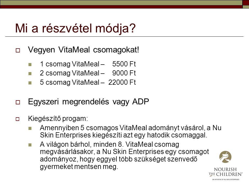 Mi a részvétel módja?  Vegyen VitaMeal csomagokat! 1 csomag VitaMeal – 5500 Ft 2 csomag VitaMeal – 9000 Ft 5 csomag VitaMeal – 22000 Ft  Egyszeri me