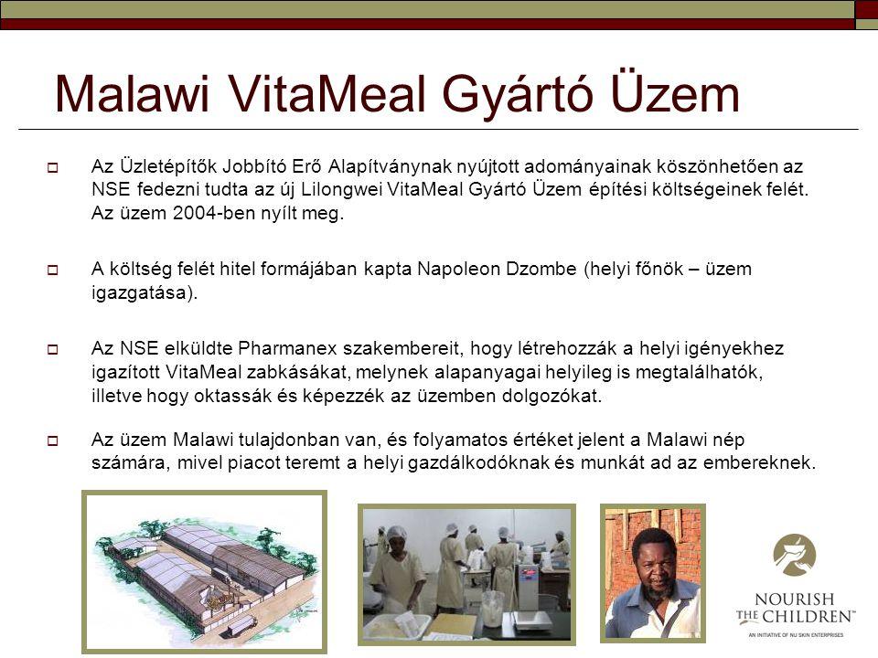 Malawi VitaMeal Gyártó Üzem  Az Üzletépítők Jobbító Erő Alapítványnak nyújtott adományainak köszönhetően az NSE fedezni tudta az új Lilongwei VitaMea