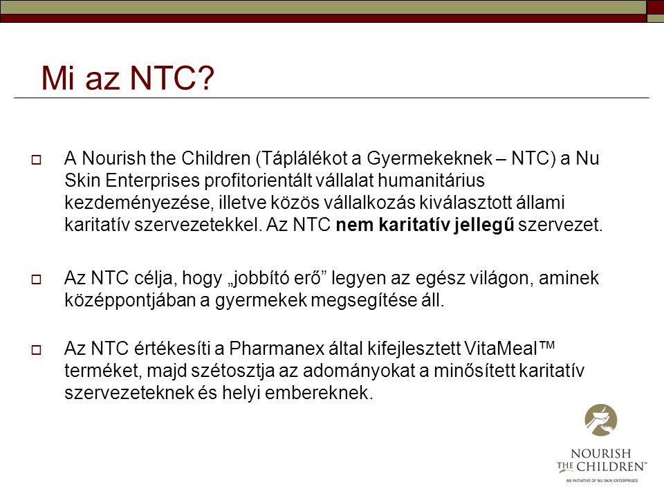 Mi az NTC?  A Nourish the Children (Táplálékot a Gyermekeknek – NTC) a Nu Skin Enterprises profitorientált vállalat humanitárius kezdeményezése, ille