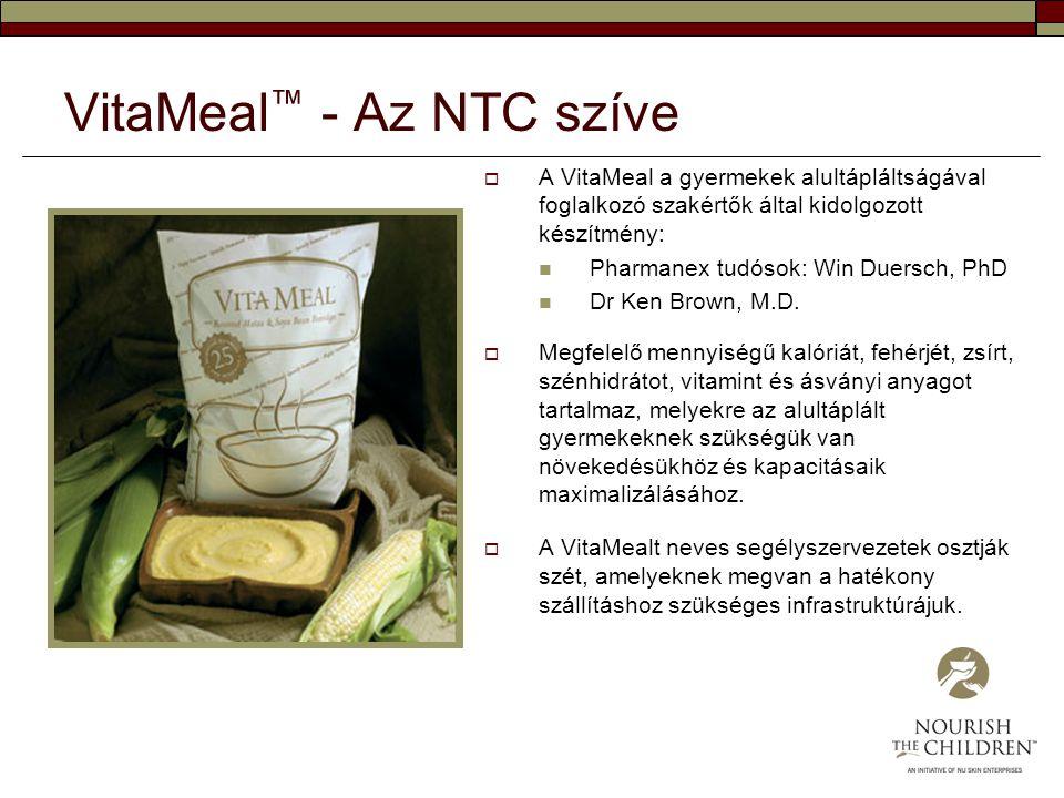 VitaMeal ™ - Az NTC szíve  A VitaMeal a gyermekek alultápláltságával foglalkozó szakértők által kidolgozott készítmény: Pharmanex tudósok: Win Duersc