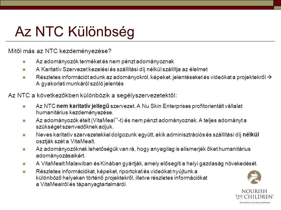 Az NTC Különbség Mitől más az NTC kezdeményezése? Az adományozók terméket és nem pénzt adományoznak A Karitatív Szervezet kezelési és szállítási díj n