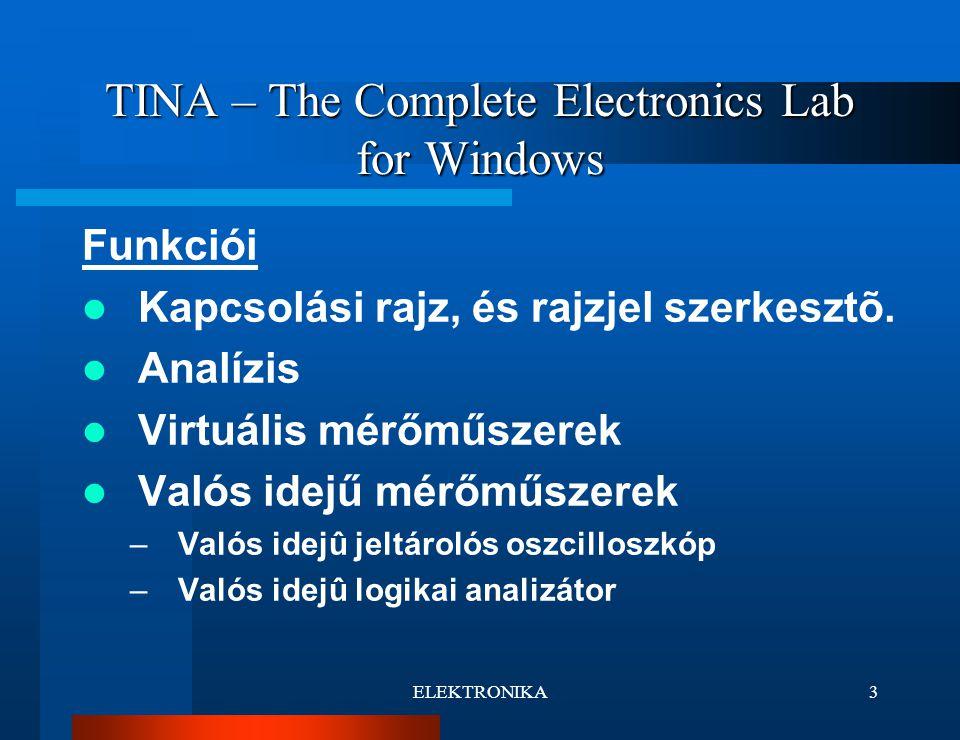 ELEKTRONIKA4 TINA – The Complete Electronics Lab for Windows Kapcsolási rajz szerkesztő A program számunkra legfontosabb része, itt lehet felépíteni a későbbiekben elemezni kívánt áramkört.