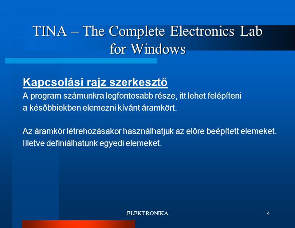 ELEKTRONIKA5 TINA – The Complete Electronics Lab for Windows Alapelemek a TINA-ban Telep Feszültség generátor Feszültség mérő Áramerősség mérő Ellenállás