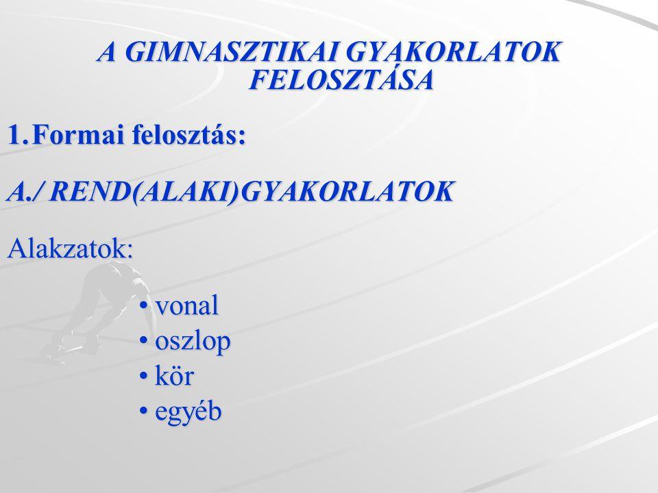 A GIMNASZTIKAI GYAKORLATOK FELOSZTÁSA 1.Formai felosztás: A./ REND(ALAKI)GYAKORLATOK Alakzatok: vonalvonal oszloposzlop körkör egyébegyéb