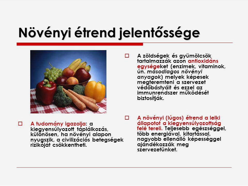 Növényi étrend jelentőssége  A tudomány igazolja: a kiegyensúlyozott táplálkozás, különösen, ha növényi alapon nyugszik, a civilizációs betegségek ri