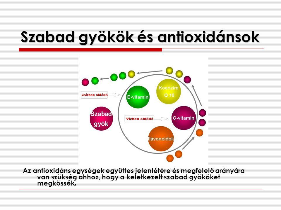 Szabad gyökök és antioxidánsok Az antioxidáns egységek együttes jelenlétére és megfelelő arányára van szükség ahhoz, hogy a keletkezett szabad gyököke