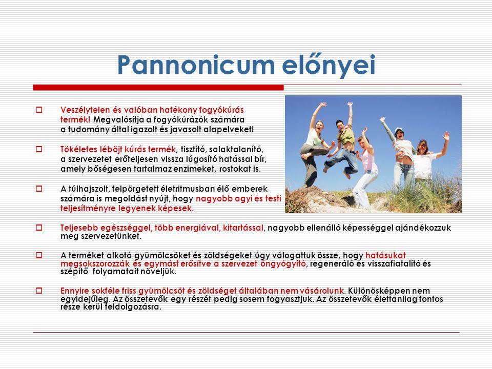 Pannonicum előnyei  Veszélytelen és valóban hatékony fogyókúrás termék! Megvalósítja a fogyókúrázók számára a tudomány által igazolt és javasolt alap