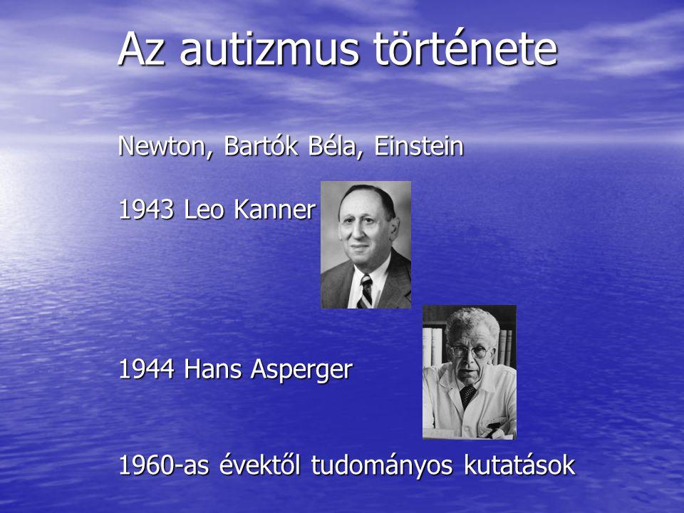 Az autizmus története Newton, Bartók Béla, Einstein 1943 Leo Kanner 1944 Hans Asperger 1960-as évektől tudományos kutatások