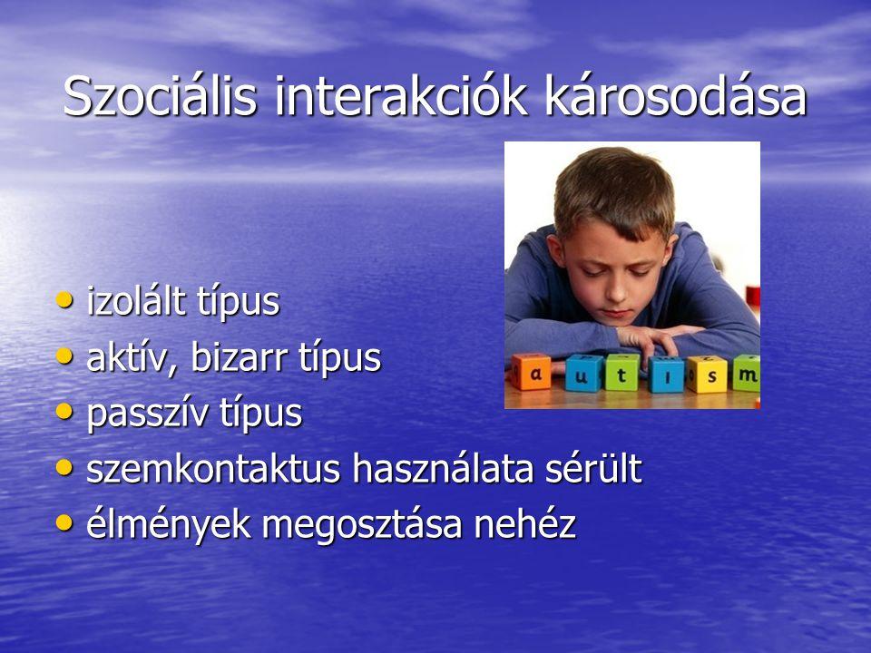 Szociális interakciók károsodása izolált típus izolált típus aktív, bizarr típus aktív, bizarr típus passzív típus passzív típus szemkontaktus használ