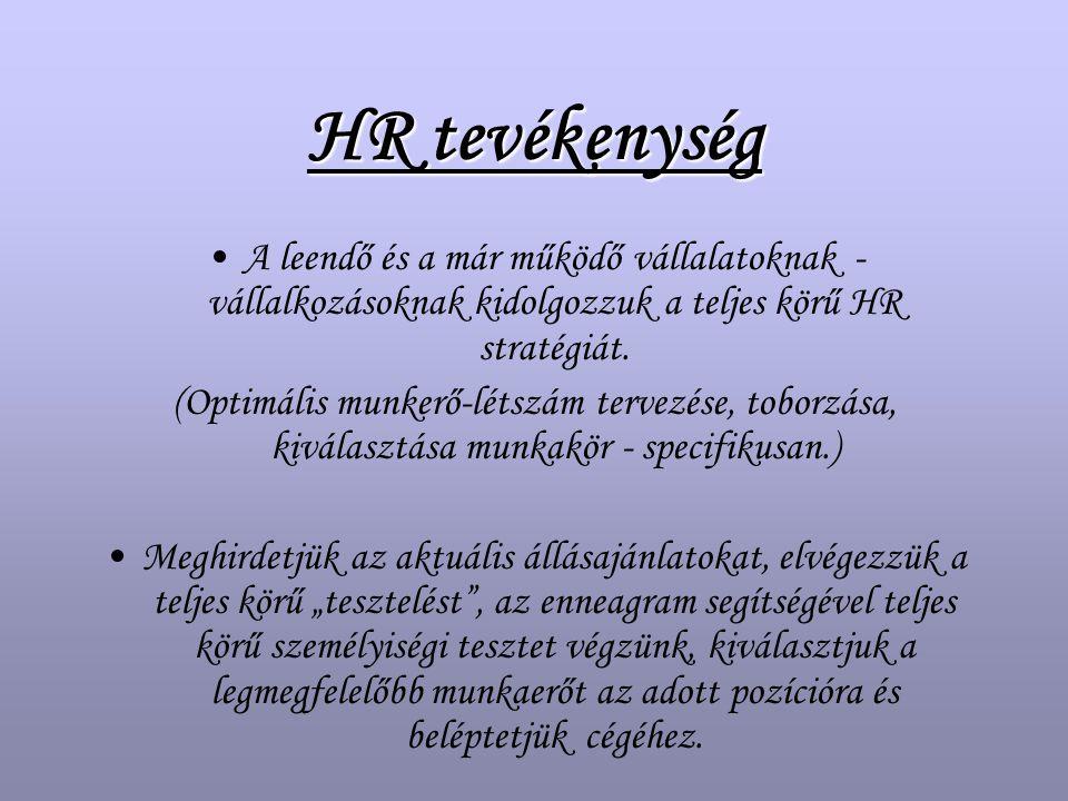 HR tevékenység A leendő és a már működő vállalatoknak - vállalkozásoknak kidolgozzuk a teljes körű HR stratégiát.