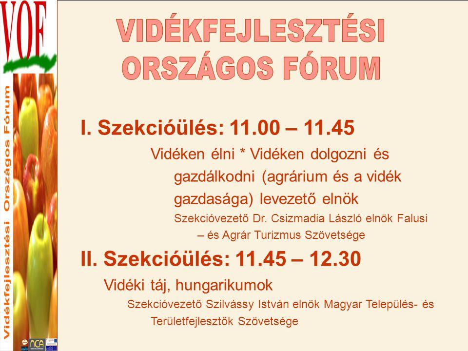 Ebédszünet 12.30 – 13.30 Sajtótájékoztató