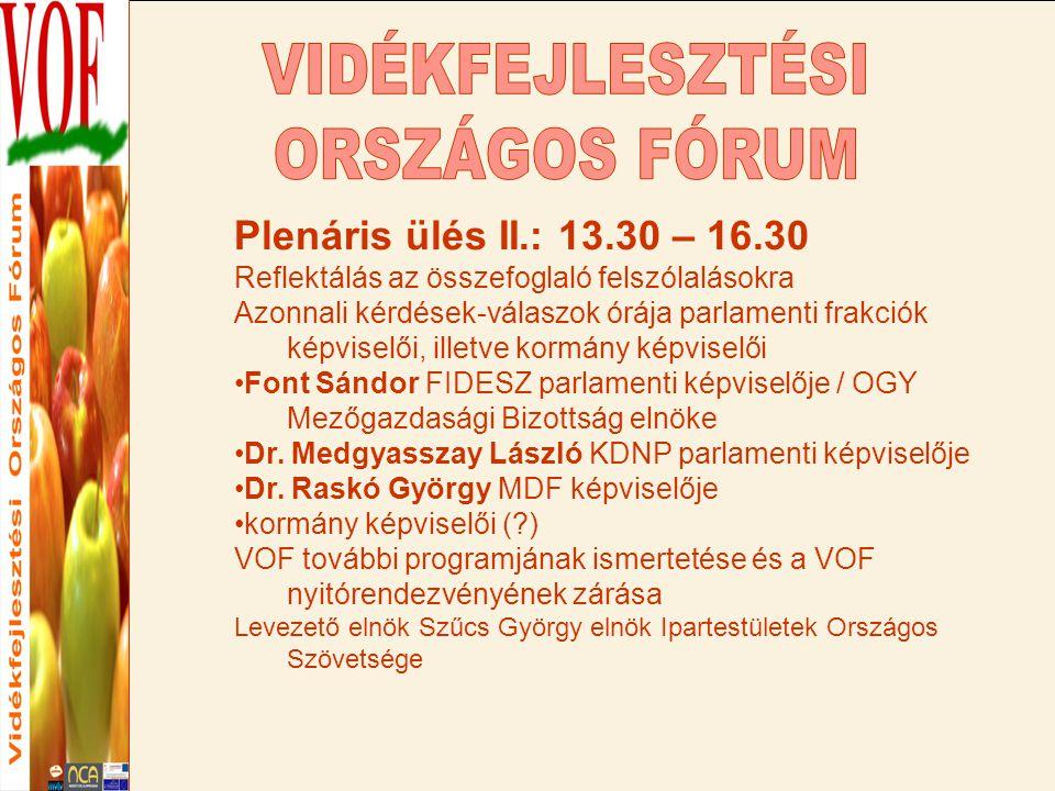 Plenáris ülés II.: 13.30 – 16.30 Reflektálás az összefoglaló felszólalásokra Azonnali kérdések-válaszok órája parlamenti frakciók képviselői, illetve kormány képviselői Font Sándor FIDESZ parlamenti képviselője / OGY Mezőgazdasági Bizottság elnöke Dr.