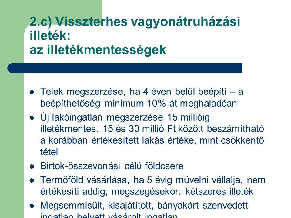 2.c) Visszterhes vagyonátruházási illeték: az illetékmentességek Telek megszerzése, ha 4 éven belül beépíti – a beépíthetőség minimum 10%-át meghaladó