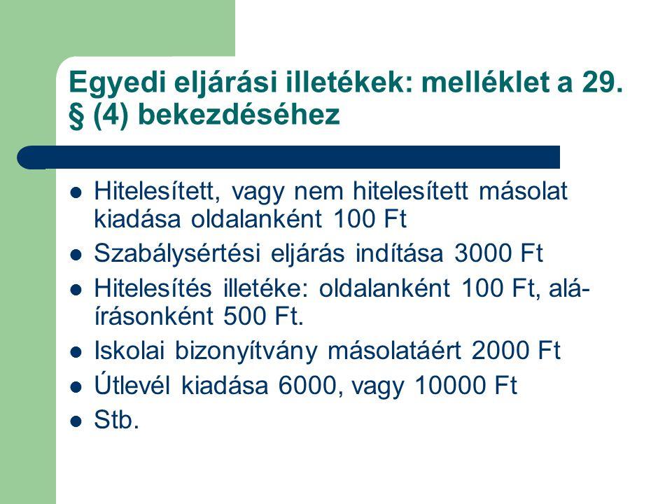 Egyedi eljárási illetékek: melléklet a 29. § (4) bekezdéséhez Hitelesített, vagy nem hitelesített másolat kiadása oldalanként 100 Ft Szabálysértési el