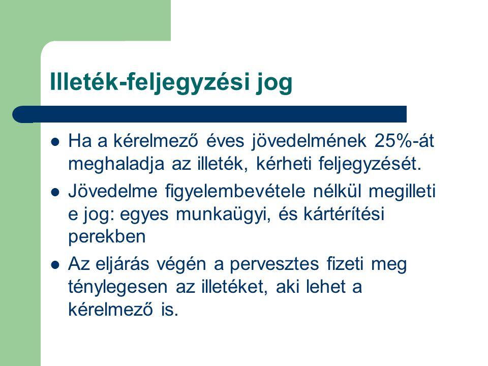 Illeték-feljegyzési jog Ha a kérelmező éves jövedelmének 25%-át meghaladja az illeték, kérheti feljegyzését. Jövedelme figyelembevétele nélkül megille