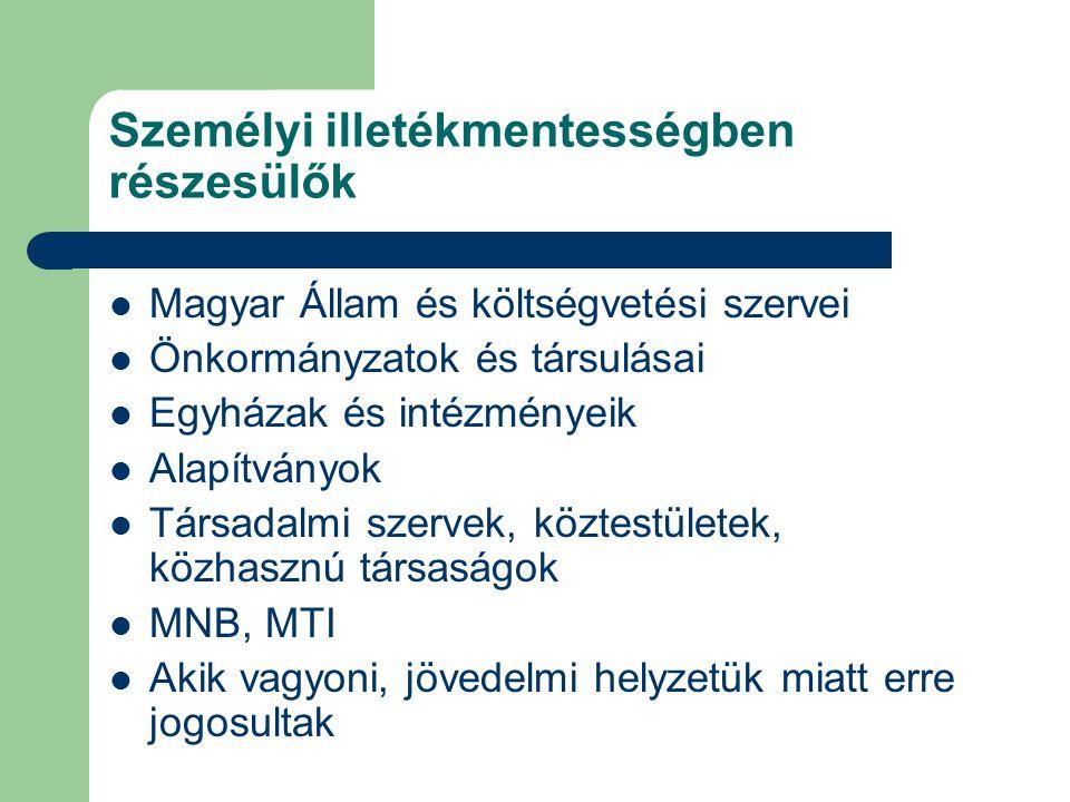 Személyi illetékmentességben részesülők Magyar Állam és költségvetési szervei Önkormányzatok és társulásai Egyházak és intézményeik Alapítványok Társa