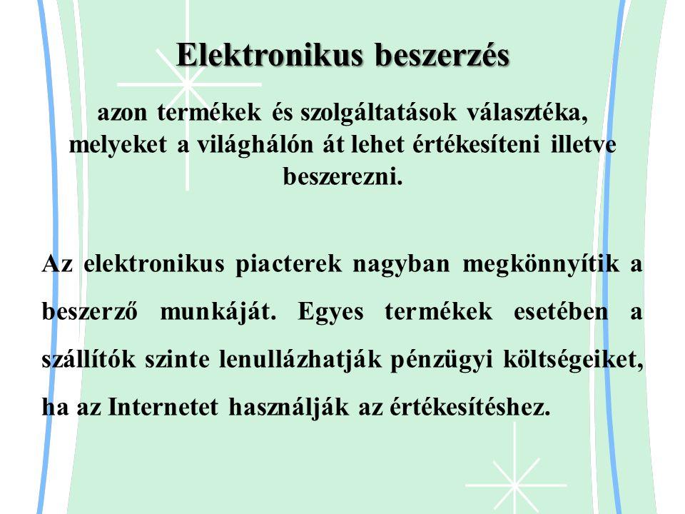 Elektronikus beszerzés azon termékek és szolgáltatások választéka, melyeket a világhálón át lehet értékesíteni illetve beszerezni. Az elektronikus pia