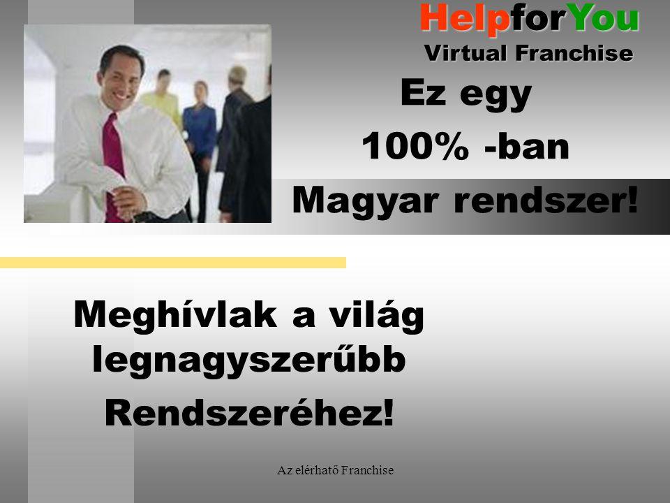 Az elérhatő Franchise Meghívlak a világ legnagyszerűbb Rendszeréhez! Ez egy 100% -ban Magyar rendszer! HelpforYou Virtual Franchise