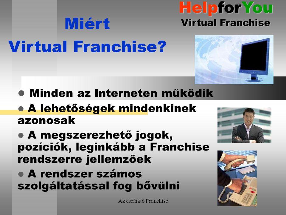 Az elérhatő Franchise Minden az Interneten működik A lehetőségek mindenkinek azonosak A megszerezhető jogok, pozíciók, leginkább a Franchise rendszerre jellemzőek A rendszer számos szolgáltatással fog bővülni Miért Virtual Franchise.