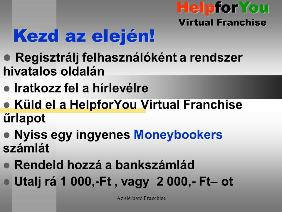 Az elérhatő Franchise Regisztrálj felhasználóként a rendszer hivatalos oldalán Iratkozz fel a hírlevélre Küld el a HelpforYou Virtual Franchise űrlapot Nyiss egy ingyenes Moneybookers számlát Rendeld hozzá a bankszámlád Utalj rá 1 000,-Ft, vagy 2 000,- Ft– ot Kezd az elején.
