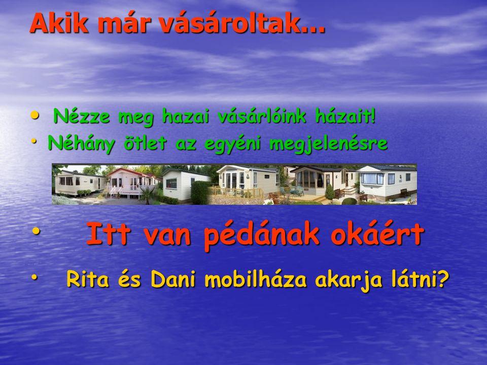Akik már vásároltak...Nézze meg hazai vásárlóink házait.