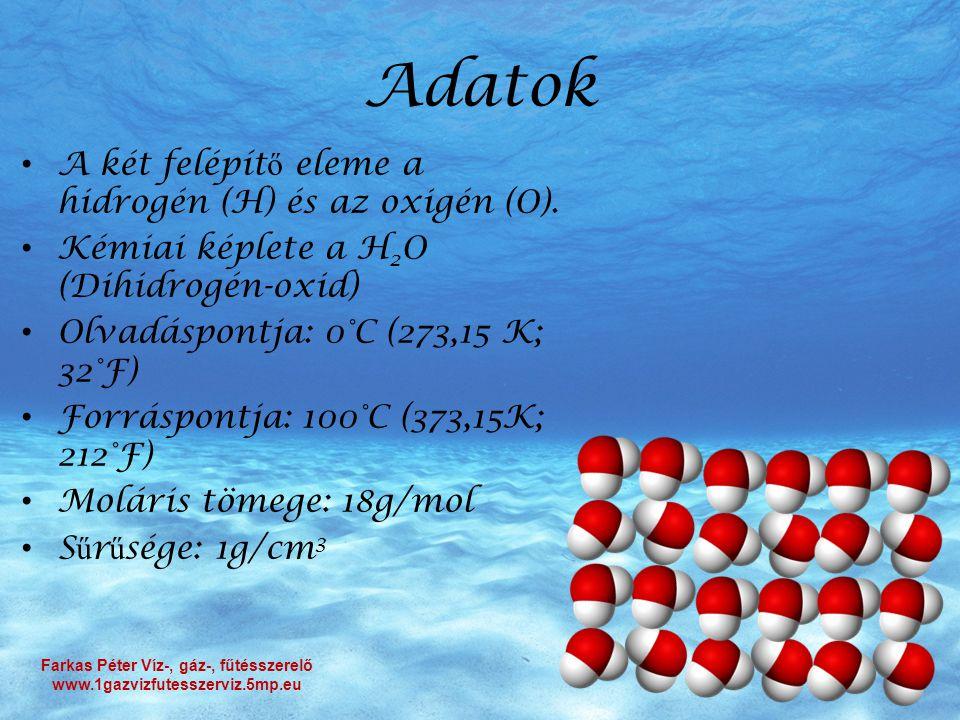 Adatok A két felépít ő eleme a hidrogén (H) és az oxigén (O). Kémiai képlete a H 2 O (Dihidrogén-oxid) Olvadáspontja: 0°C (273,15 K; 32°F) Forráspontj