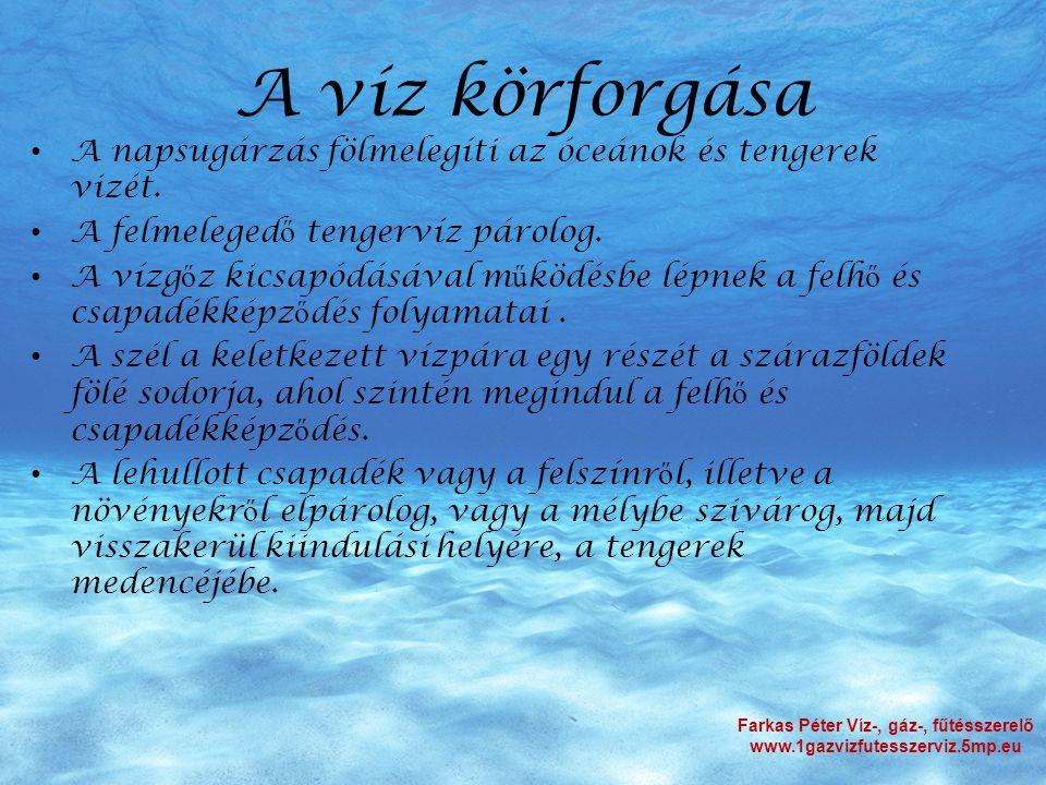 A víz körforgása Farkas Péter Víz-, gáz-, fűtésszerelő www.1gazvizfutesszerviz.5mp.eu