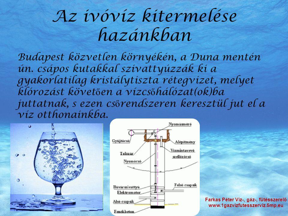 Az ivóvíz kitermelése hazánkban Budapest közvetlen környékén, a Duna mentén ún. csápos kutakkal szivattyúzzák ki a gyakorlatilag kristálytiszta rétegv