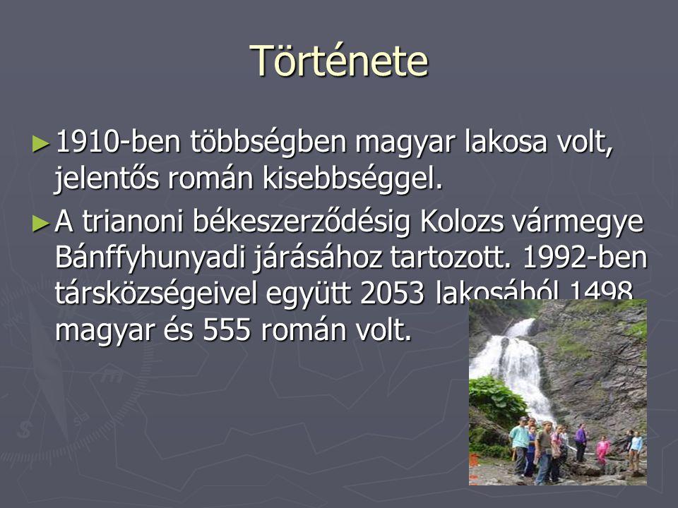 Története ►1►1►1►1910-ben többségben magyar lakosa volt, jelentős román kisebbséggel. ►A►A►A►A trianoni békeszerződésig Kolozs vármegye Bánffyhunyadi