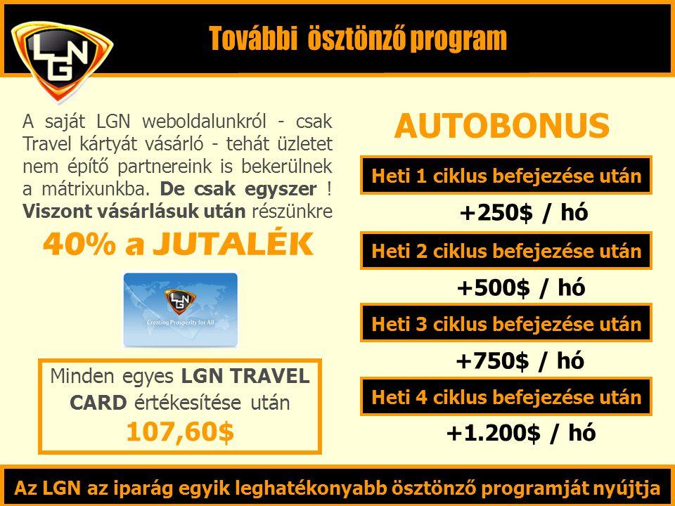 Heti 1 ciklus befejezése után Heti 2 ciklus befejezése után Heti 3 ciklus befejezése után Heti 4 ciklus befejezése után +250$ / hó +500$ / hó +750$ / hó +1.200$ / hó Az LGN az iparág egyik leghatékonyabb ösztönző programját nyújtja Minden egyes LGN TRAVEL CARD értékesítése után 107,60$ 40% a JUTALÉK A saját LGN weboldalunkról - csak Travel kártyát vásárló - tehát üzletet nem építő partnereink is bekerülnek a mátrixunkba.