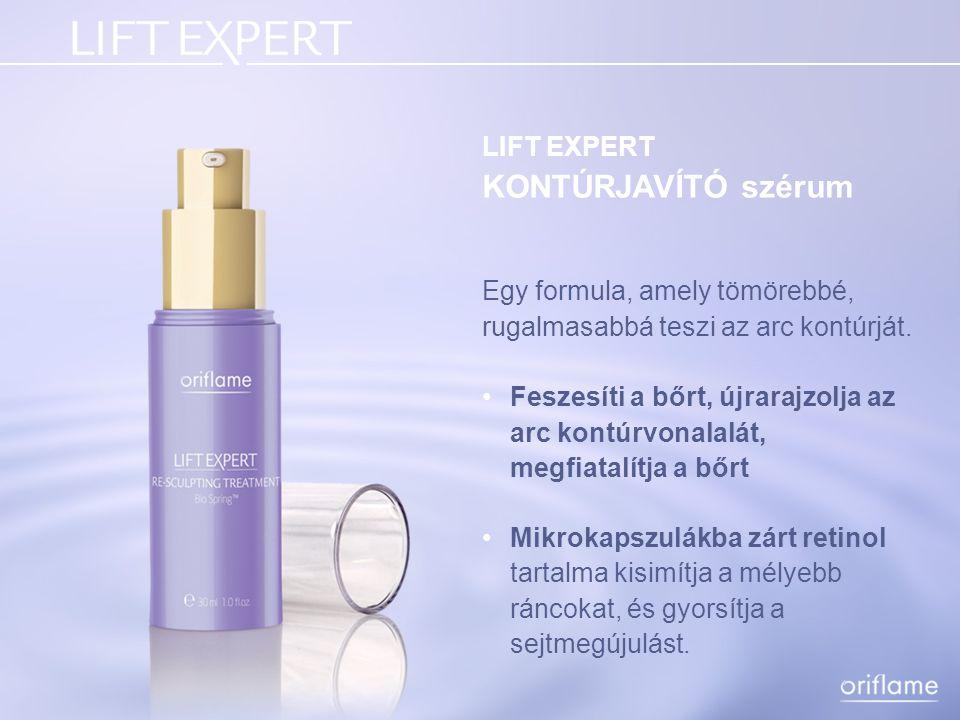 LIFT EXPERT KONTÚRJAVÍTÓ szérum Egy formula, amely tömörebbé, rugalmasabbá teszi az arc kontúrját. Feszesíti a bőrt, újrarajzolja az arc kontúrvonalal