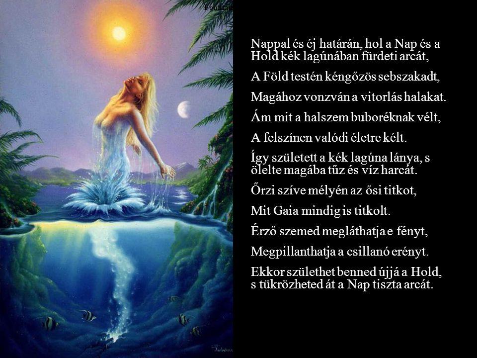Fountain of youth Nappal és éj határán, hol a Nap és a Hold kék lagúnában fürdeti arcát, A Föld testén kéngőzös sebszakadt, Magához vonzván a vitorlás halakat.