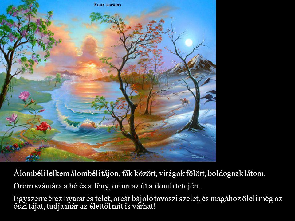 Four seasons Álombéli lelkem álombéli tájon, fák között, virágok fölött, boldognak látom.