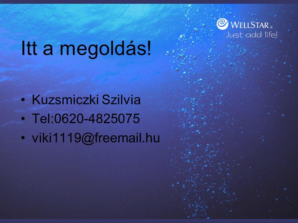 Itt a megoldás! Kuzsmiczki Szilvia Tel:0620-4825075 viki1119@freemail.hu