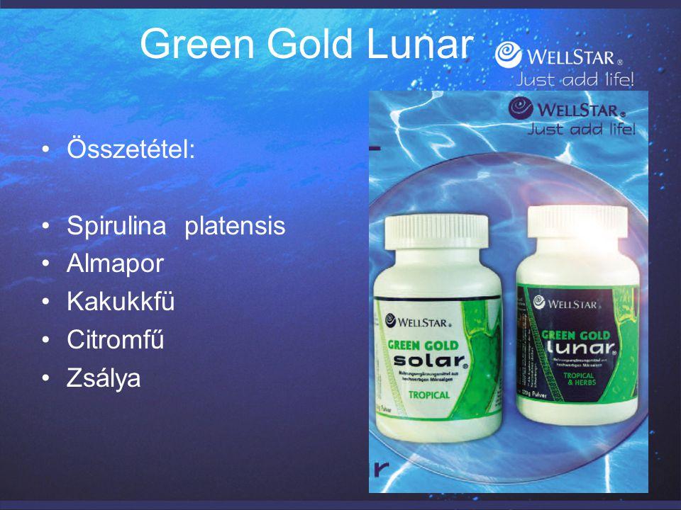 Green Gold Lunar Összetétel: Spirulina platensis Almapor Kakukkfü Citromfű Zsálya